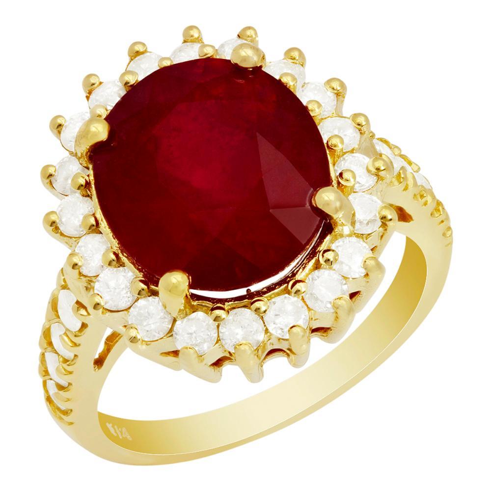 14k Yellow Gold 7.93ct Ruby 1.08ct Diamond Ring