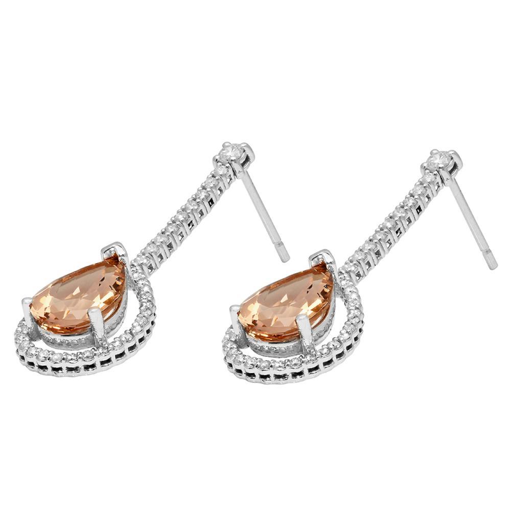 Lot 136: 14K White Gold 6.13ct Morganite 0.91ct Diamond Earrings