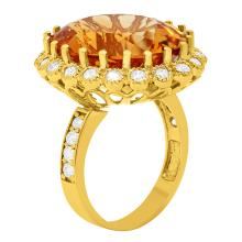 Lot 137: 14k Yellow Gold 16.12ct Citrine 1.08ct Diamond Ring