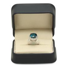 Lot 138: 14K White Gold 9.14ct Topaz and 0.77ct Diamond Ring