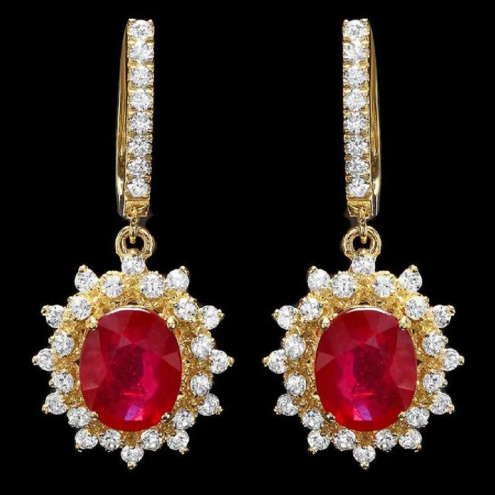 Lot 14: 14K Yellow Gold 6.36ct Ruby and 1.76ct Diamond Earrings