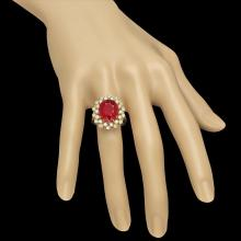 Lot 142: 14K Yellow Gold 9.32ct Ruby and 1.01ct Diamond Ring