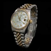 Lot 143: Rolex DateJust Two-Tone 36mm Custom Diamond Bezel Men's Wristwatch