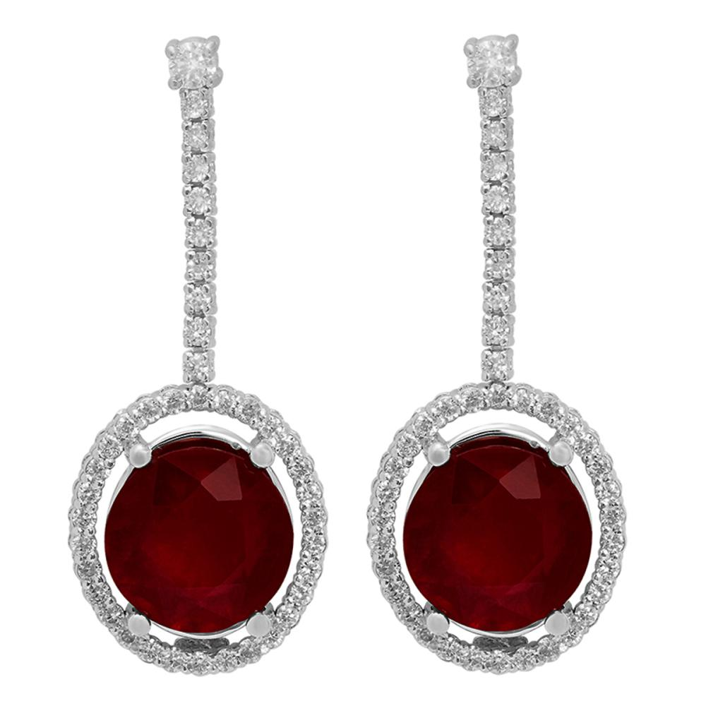 14k White Gold 9.80ct Ruby 0.76ct Diamond Earrings