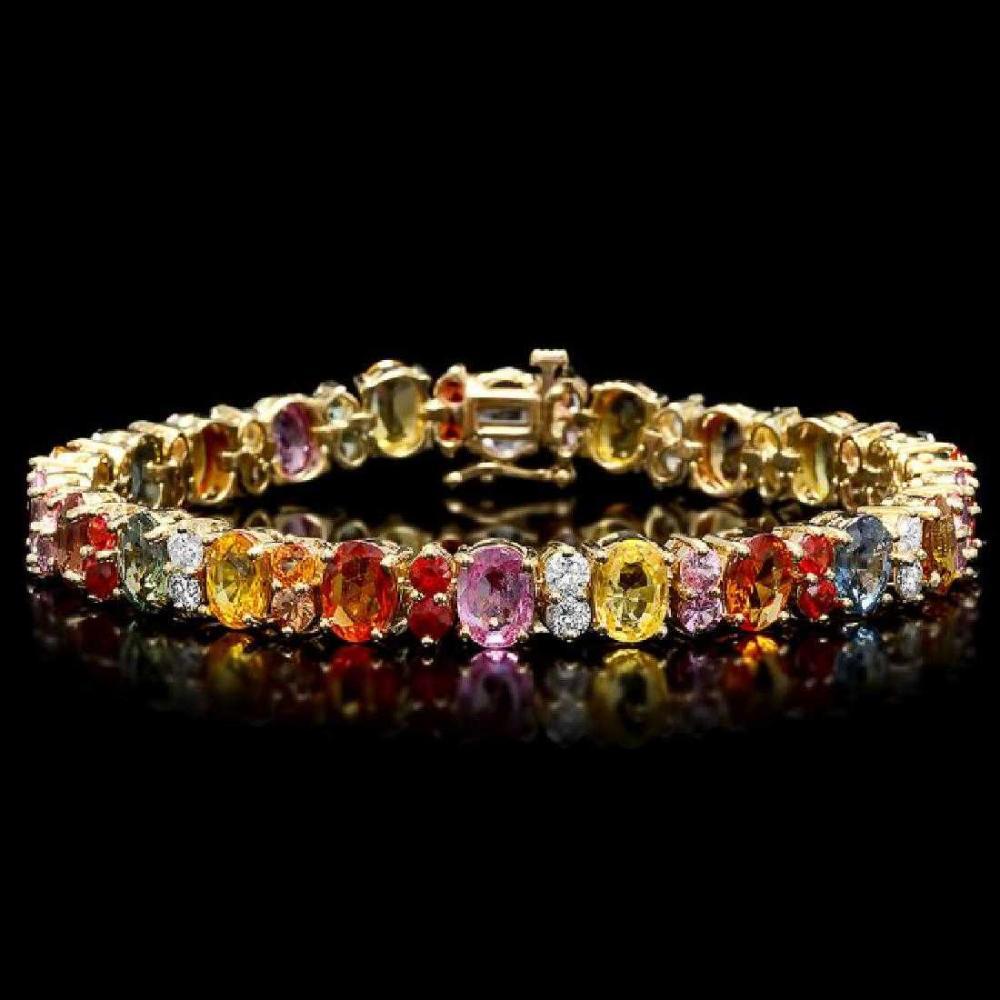 Lot 150: 14K Yellow Gold 22.20ct Sapphire and 1.40ct Diamond Bracelet