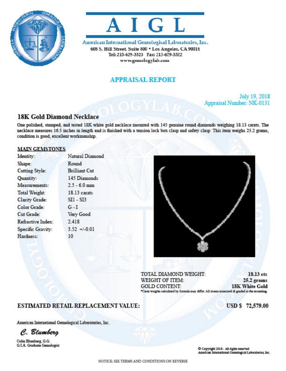 Lot 15: 18K Gold 18.31ct Diamond Necklace