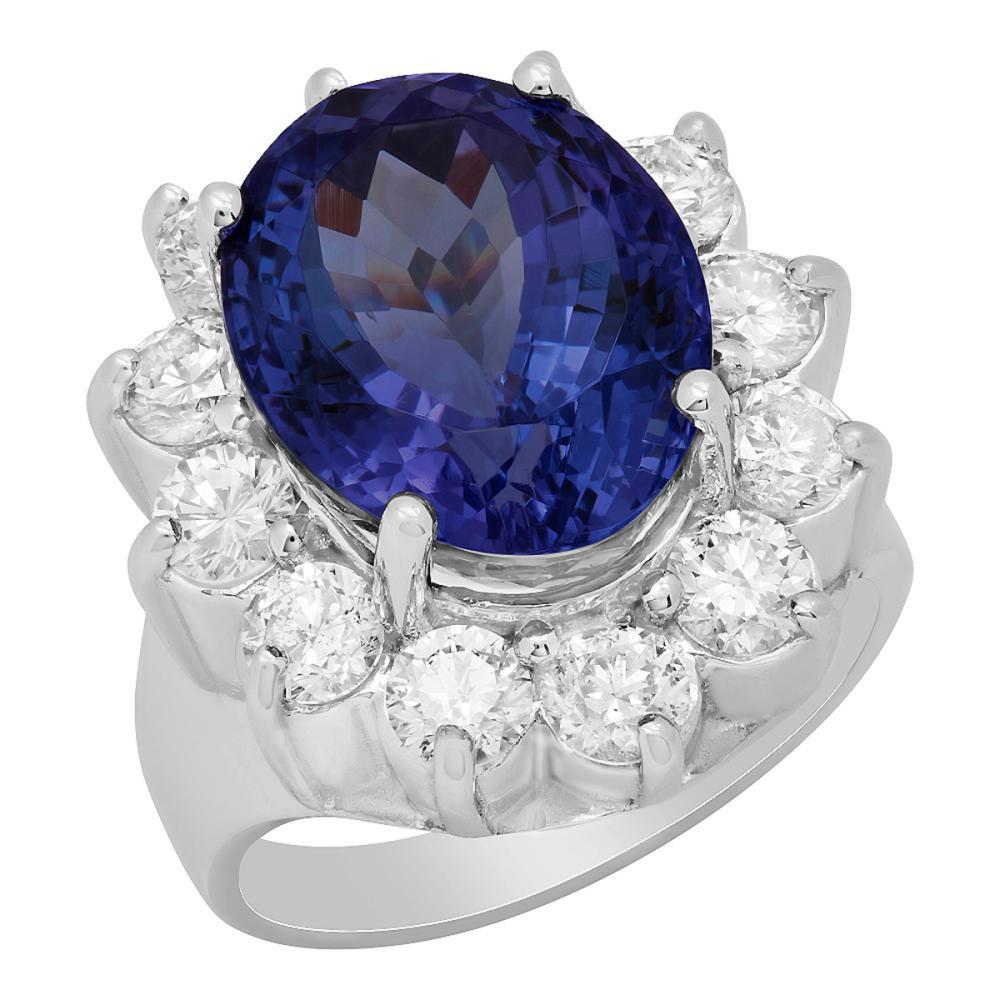 Lot 151: 14k White Gold 4.74ct Tanzanite 2.24ct Diamond Ring