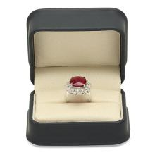 Lot 153: 14K White Gold 9.66ct Ruby and 0.98ct Diamond Ring