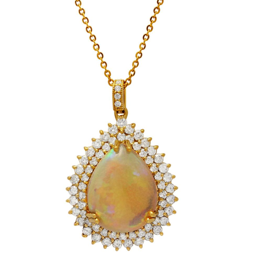 14k Yellow Gold 15.42ct Ethiopian Opal 3.72ct Diamond Pendant