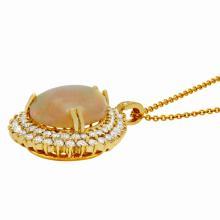 Lot 154: 14k Yellow Gold 15.42ct Ethiopian Opal 3.72ct Diamond Pendant
