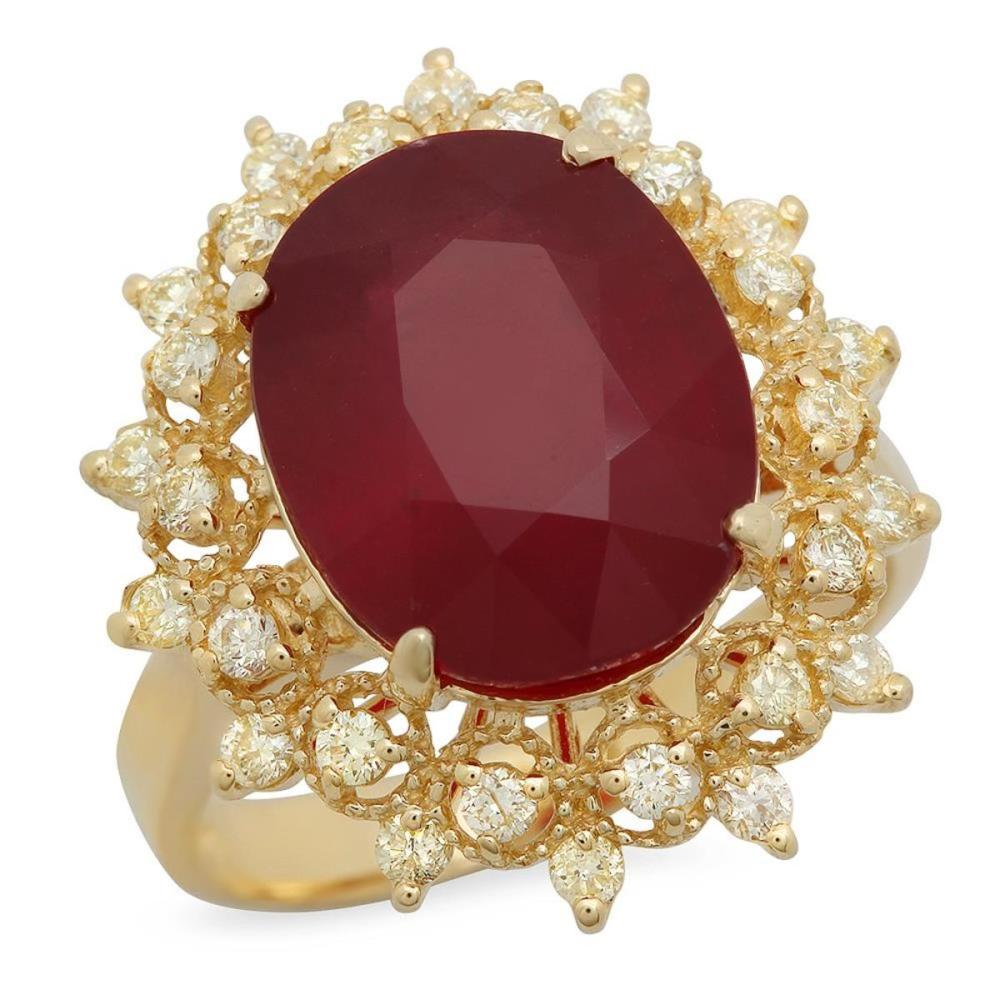 Lot 156: 14K Yellow Gold 8.39ct Ruby and 0.53ct Diamond Ring