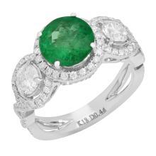 Lot 157: 14k White Gold 1.77ct Emerald 1.66ct Diamond Ring