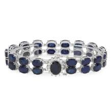 Lot 159: 14K Gold 52.29ct Sapphire 0.65ct Diamond Bracelet