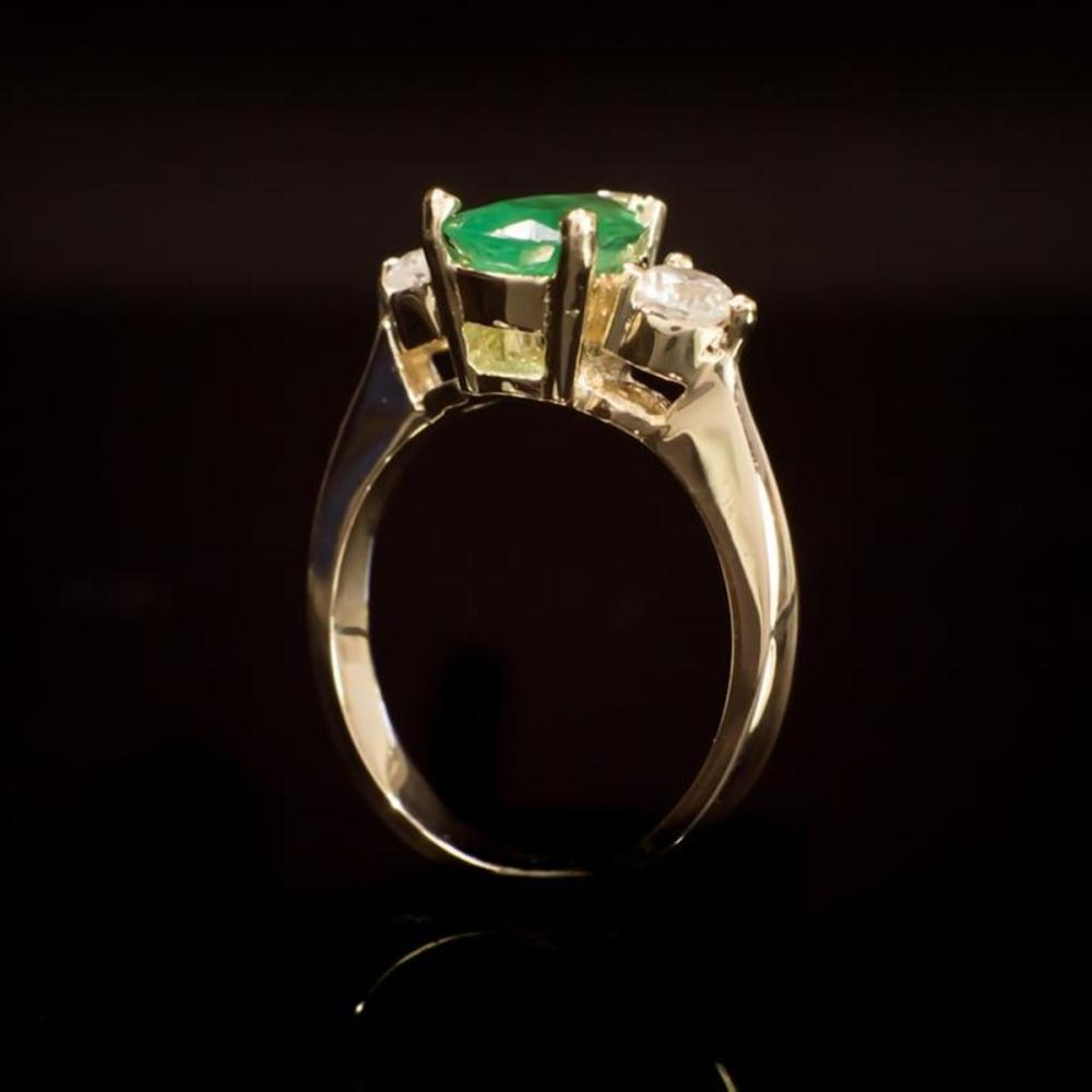 Lot 16: 14K Yellow Gold 1.41ct Emerald and 0.58ct Diamond Ring