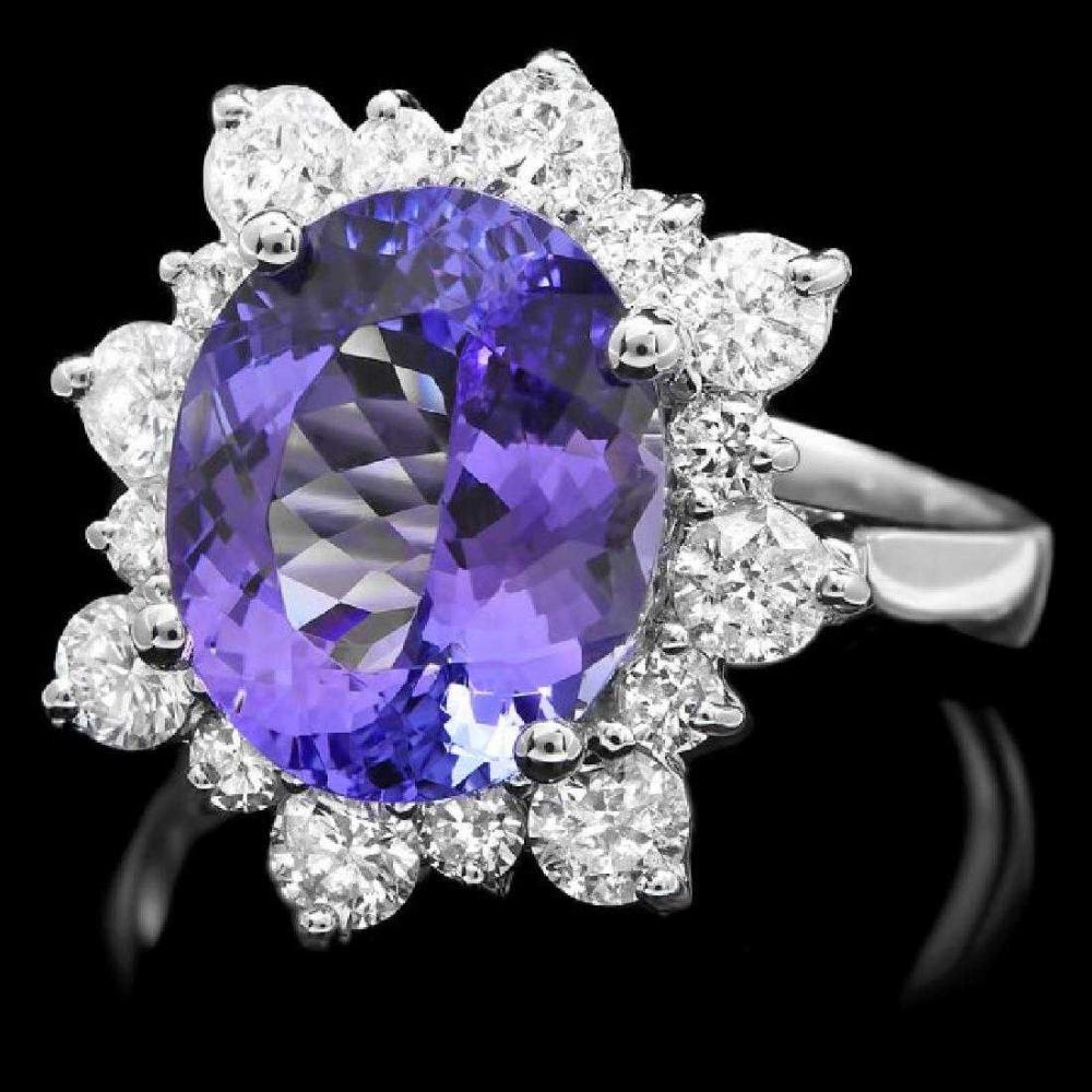 14K White Gold 4.89ct Tanzanite and 1.12ct Diamond Ring