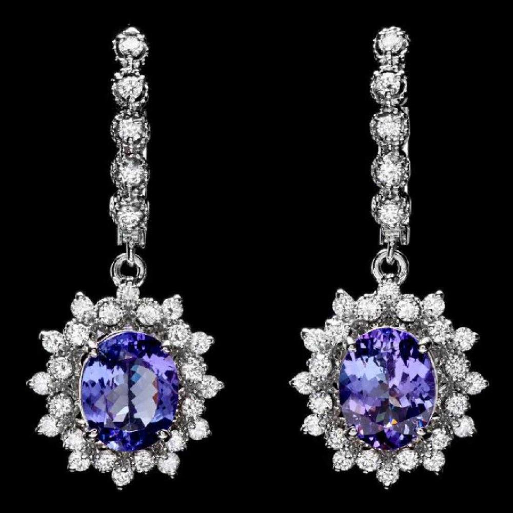 14K White Gold 4.76ct Tanzanite and 1.62ct Diamond Earrings