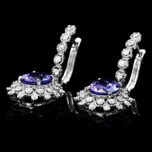 Lot 162: 14K White Gold 4.76ct Tanzanite and 1.62ct Diamond Earrings