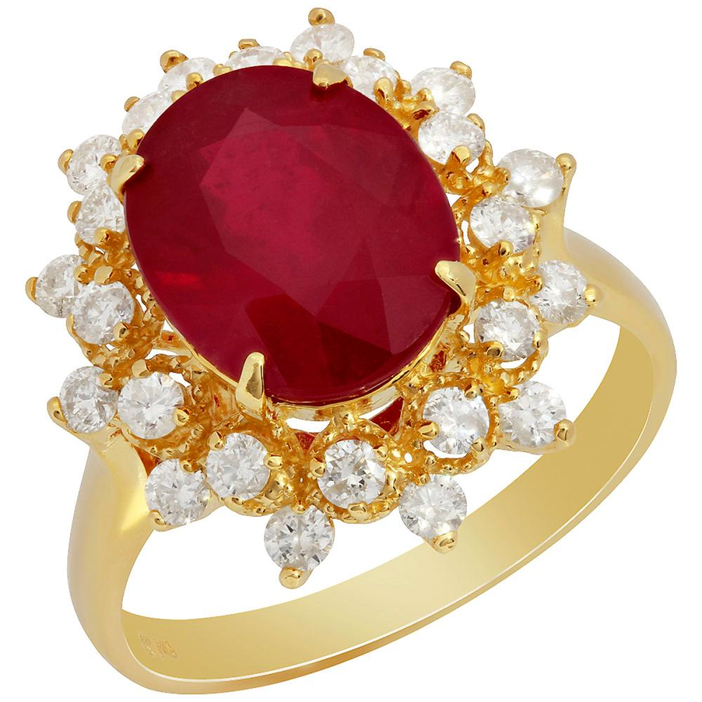Lot 161: 14k Yellow Gold 5.07ct Ruby 0.73ct Diamond Ring