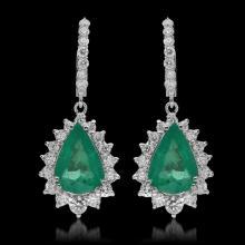 Lot 163: 14K Gold 7.49ct Emerald & 2.57ct Diamond Earrings