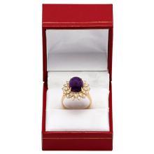 Lot 164: 14k Yellow Gold 5.10ct Amethyst 0.72ct Diamond Ring