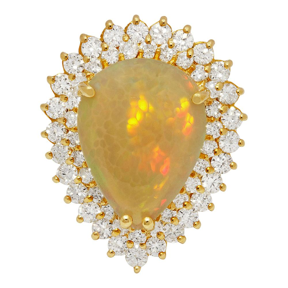 Lot 165: 14k Yellow Gold 9.58ct Opal 3.48ct Diamond Ring