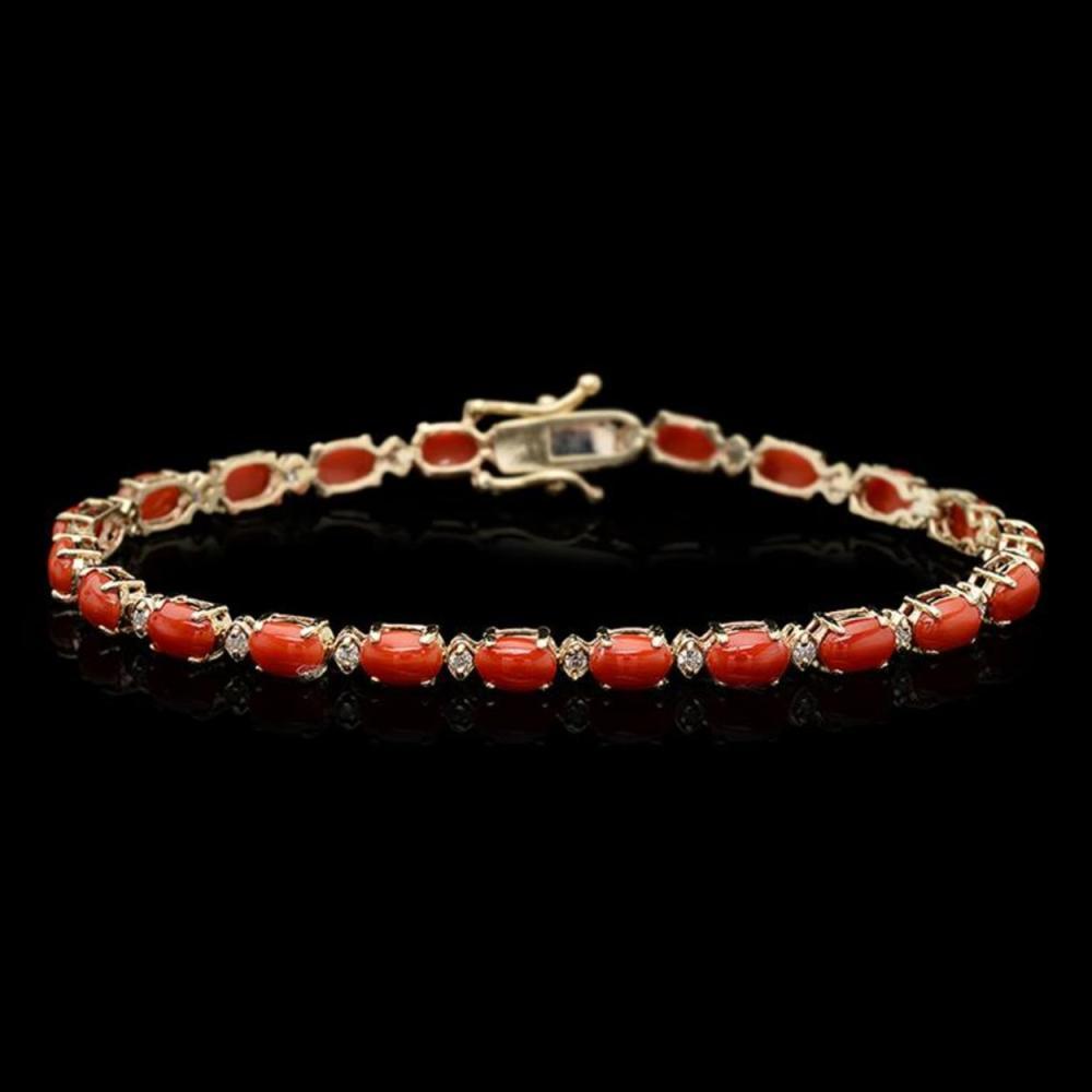 Lot 169: 14k Gold 7.72ct Coral 0.53ct Diamond Bracelet