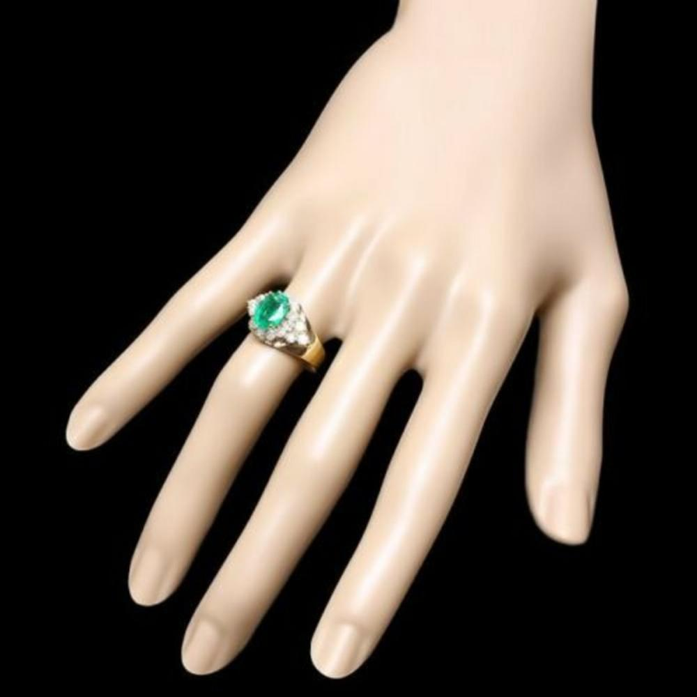 Lot 17: 14K Yellow Gold 1.77ct Emerald and 0.81ct Diamond Ring