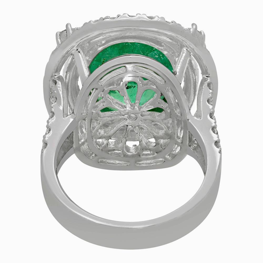 Lot 170: 14k White Gold 9.01ct Emerald 2.40ct Diamond Ring