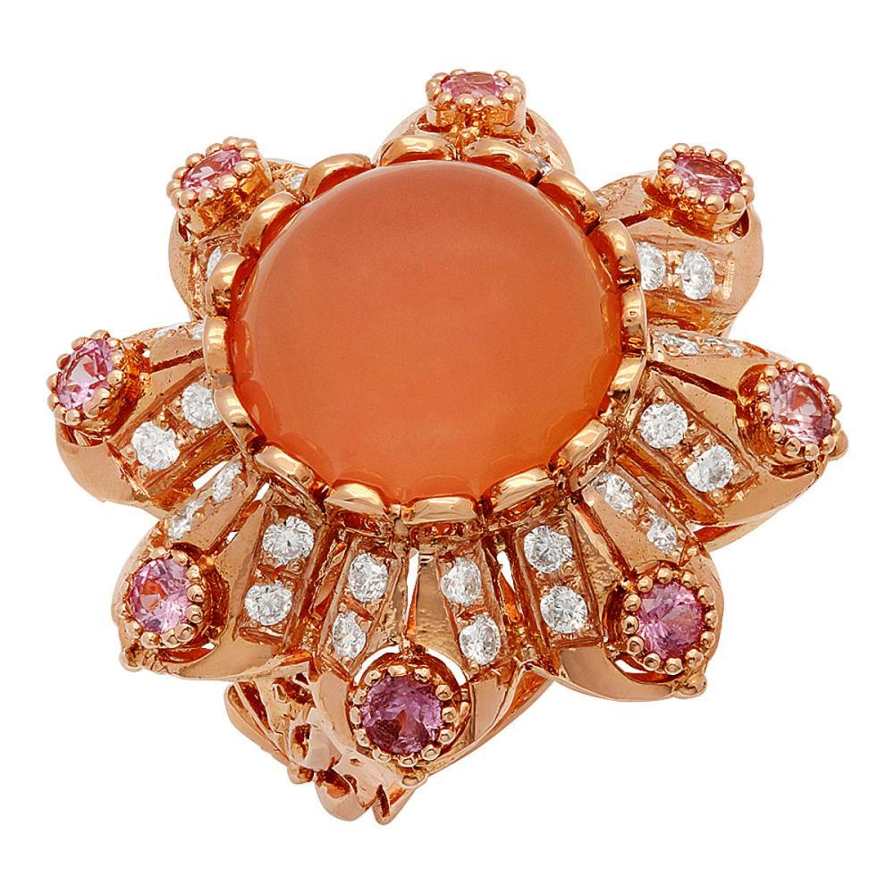 14k Rose Gold 15.40ct Rose Quartz 1.25ct Pink Sapphire 1.45ct Diamond Ring