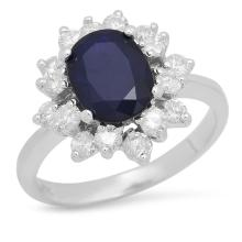 Lot 172: 14K White Gold 2.00ct Sapphire and 0.86ct Diamond Ring