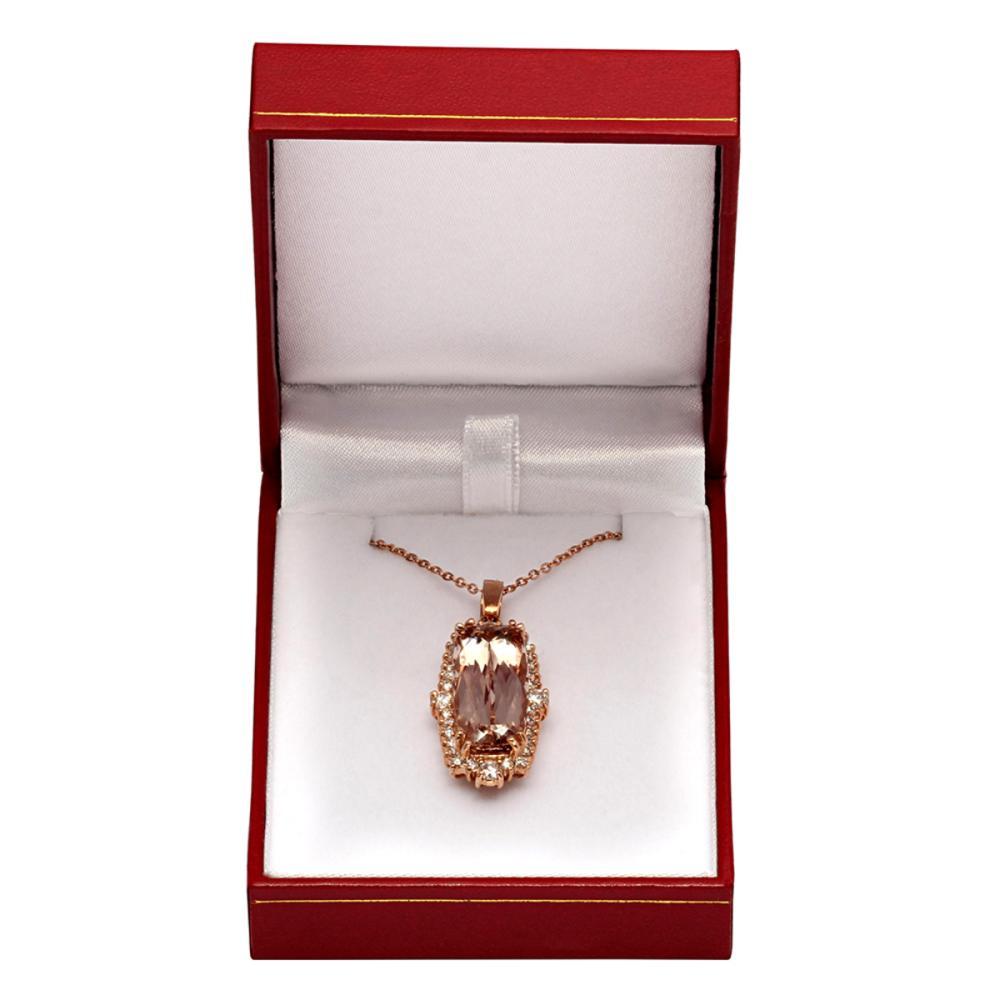 Lot 173: 14k Rose Gold 11.96ct Morganite 1.25ct Diamond Pendant