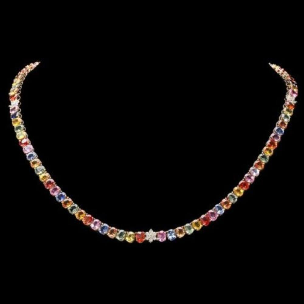 Lot 174: 14K Yellow Gold 54.74ct Sapphire and 0.65ct Diamond Necklace