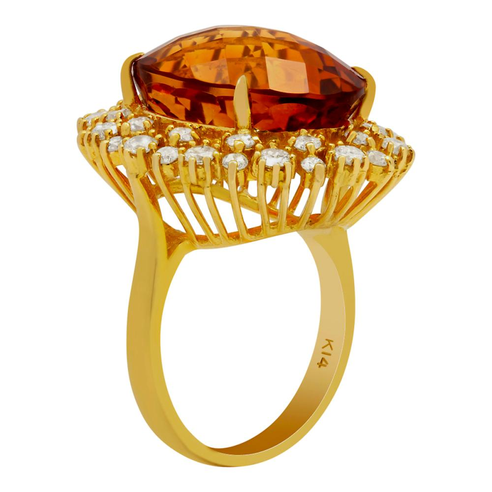 Lot 175: 14k Yellow Gold 15.34ct Citrine 1.36ct Diamond Ring