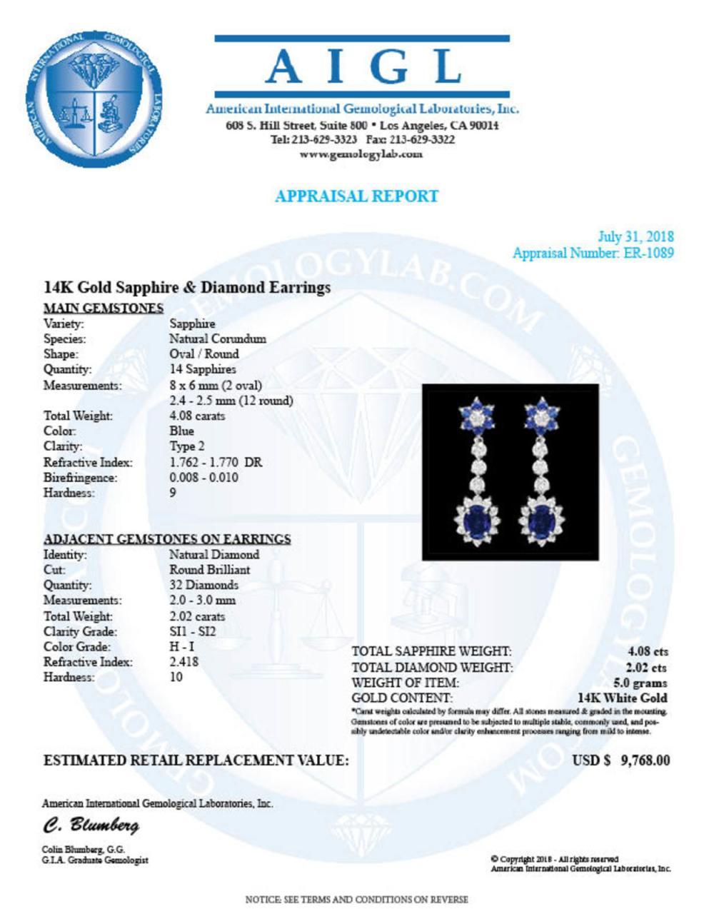 Lot 176: 14K Gold 4.08ct Sapphire 2.02ct Diamond Earrings