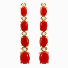 Lot 178: 14k Yellow Gold 7.99ct Coral 0.46ct Diamond Earrings