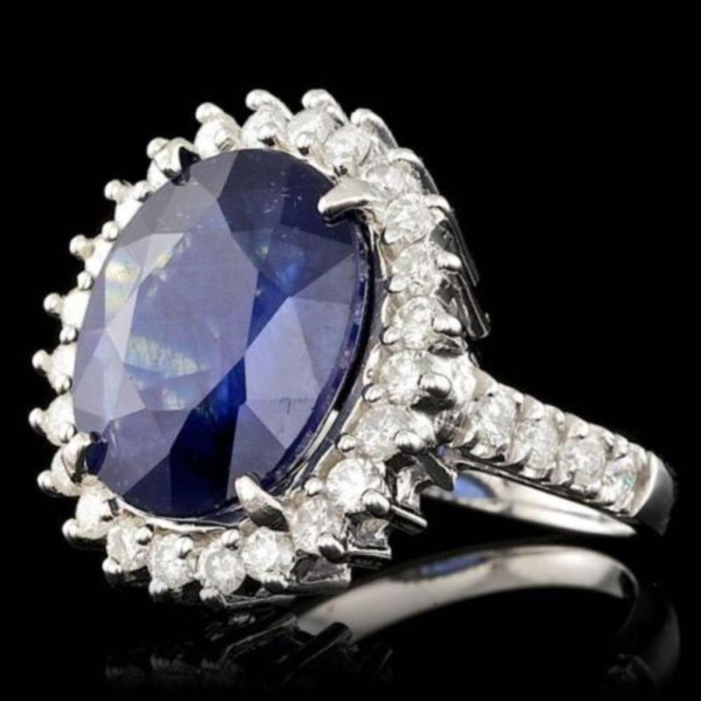 Lot 179: 14K White Gold 8.82ct Sapphire and 1.12ct Diamond Ring