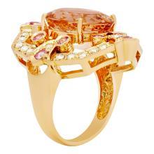 Lot 18: 14k Rose Gold 7.27ct Morganite 0.75ct Pink Sapphire 0.59ct Diamond Ring