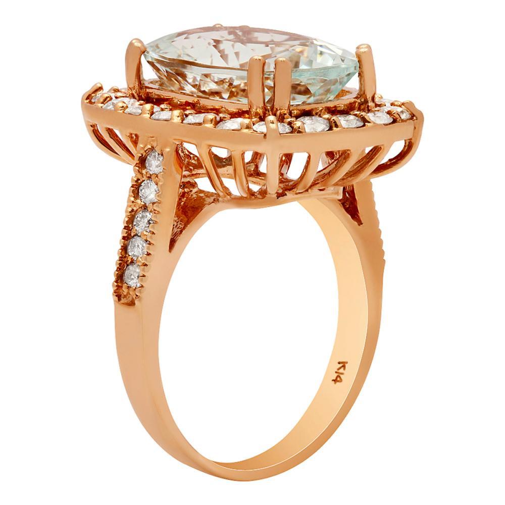 Lot 182: 14k Rose Gold 8.60ct Aquamarine 1.43ct Diamond Ring