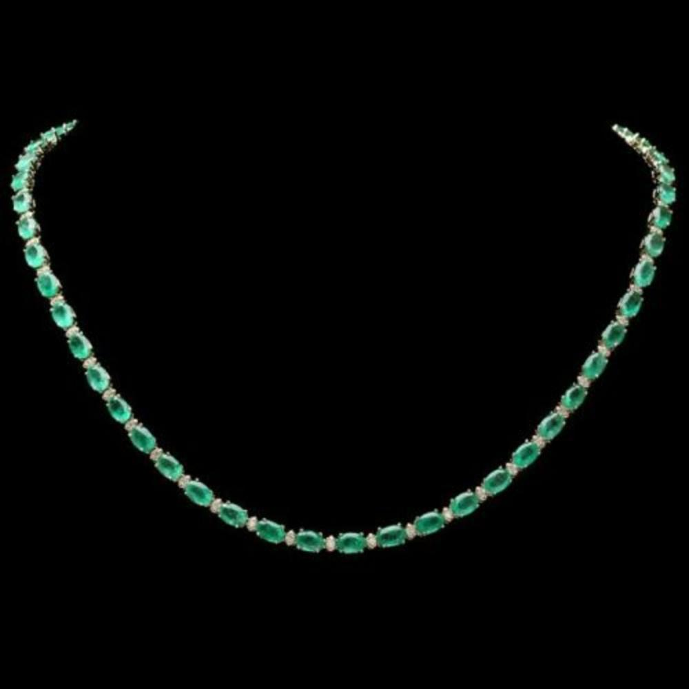 Lot 184: 14K Yellow Gold 17.65ct Emerald and 0.75ct Diamond Necklace