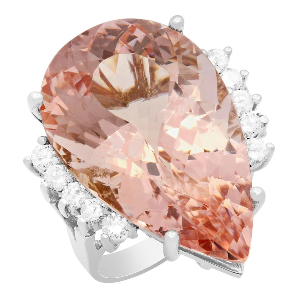 14k White Gold 22.30ct Morganite 0.65ct Diamond Ring
