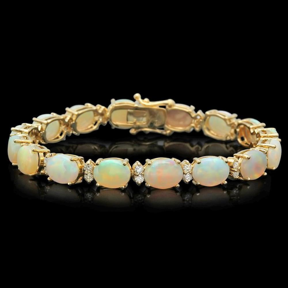 Lot 189: 14K Gold 17.12ct Opal 1.47ct Diamond Bracelet