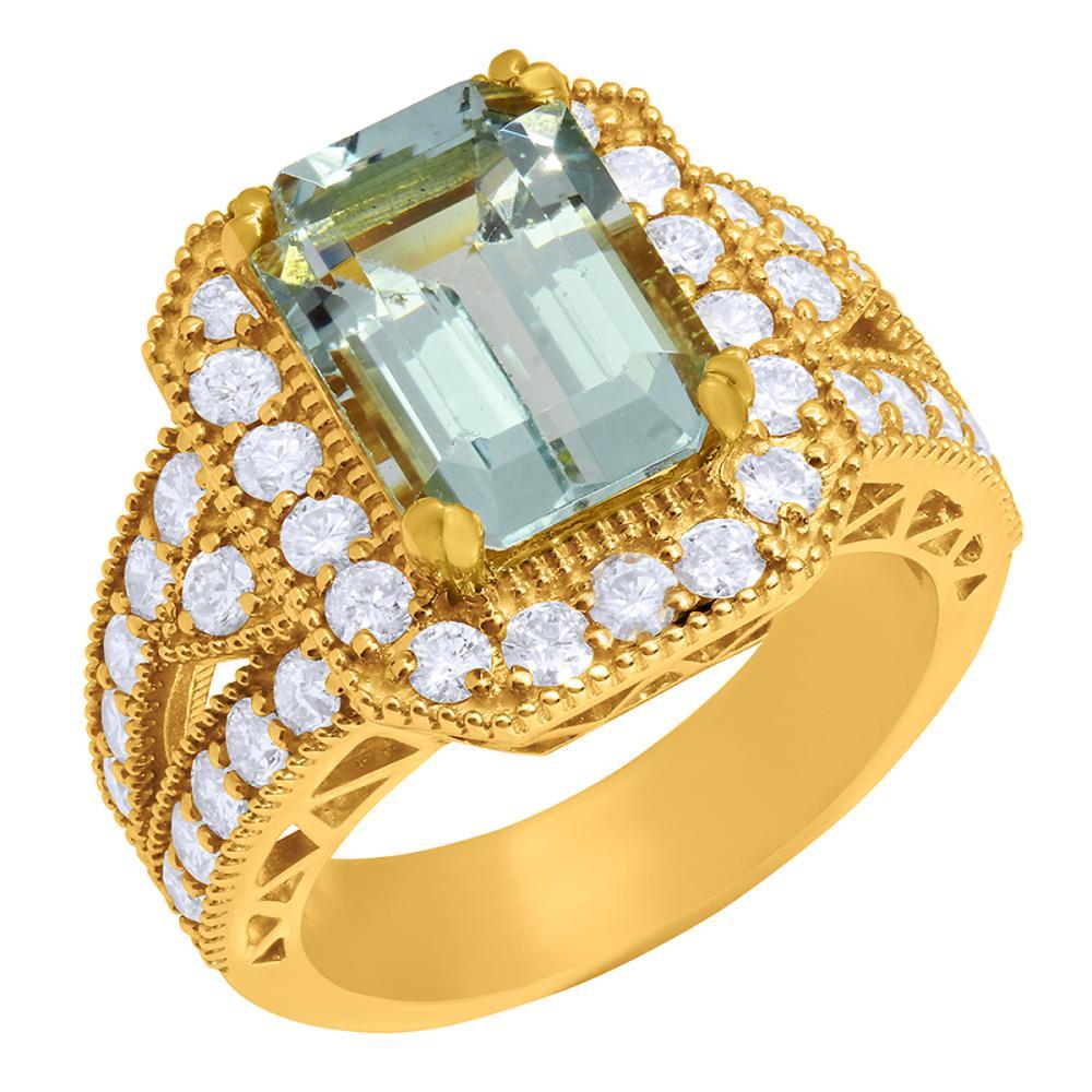 14k Yellow Gold 3.79ct Aquamarine 1.44ct Diamond Ring
