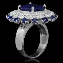 Lot 190: 14K White Gold 10.12ct Sapphire and 2.26ct Diamond Ring