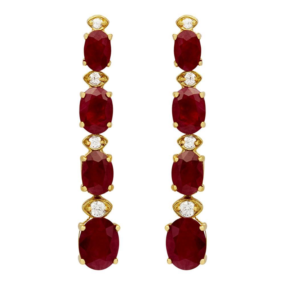 Lot 191: 14k Yellow Gold 8.64ct Ruby 0.26ct Diamond Earrings
