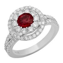 Lot 192: 14k White Gold 0.92ct Ruby 1.12ct Diamond Ring