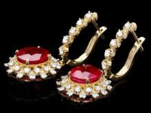 Lot 193: 14k Gold 8.16ct Ruby 1.54ct Diamond Earrings
