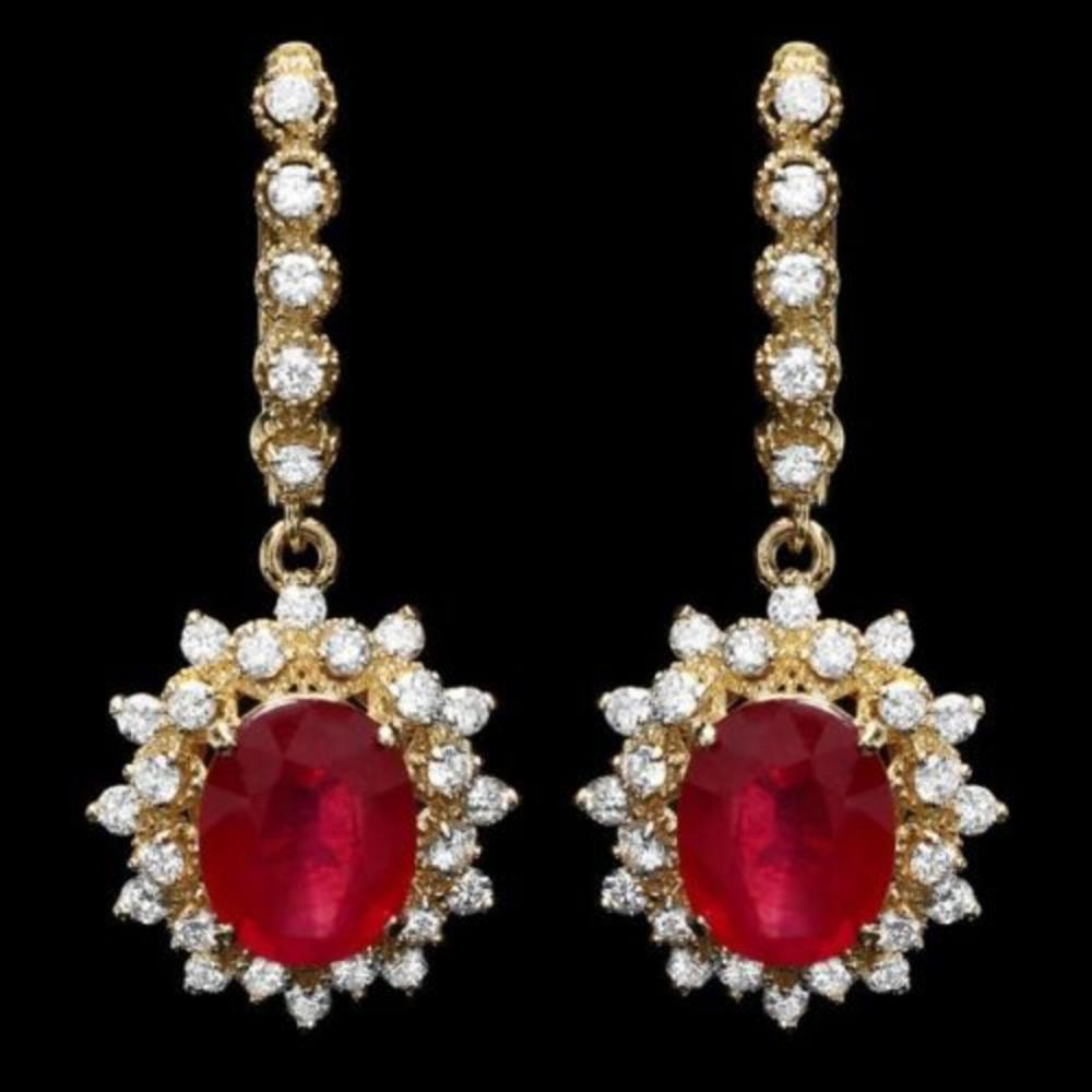 14k Gold 8.16ct Ruby 1.54ct Diamond Earrings