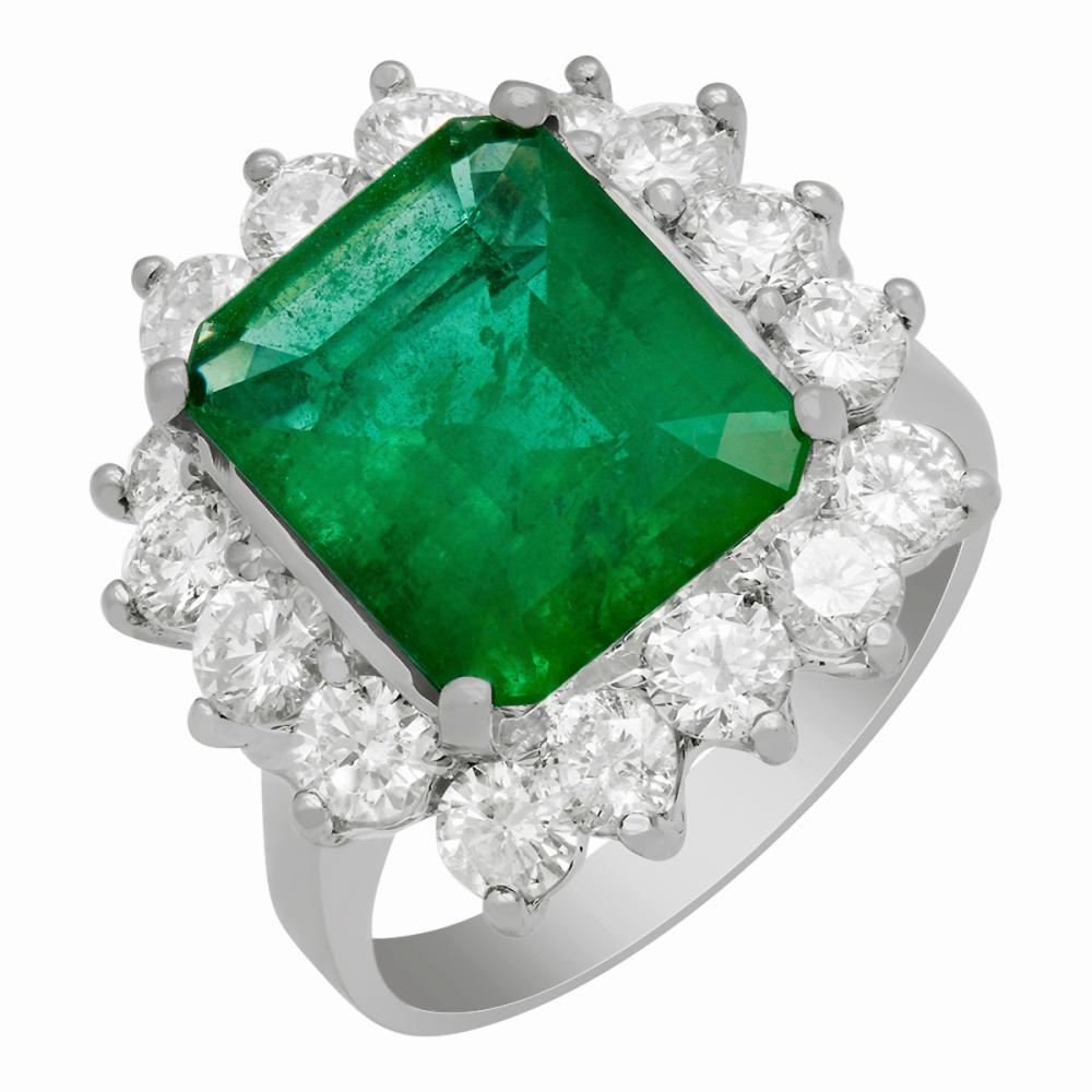 14k White Gold 4.21ct Emerald 2.01ct Diamond Ring