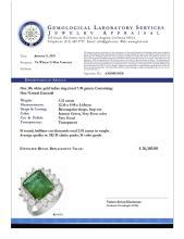 Lot 194: 14k White Gold 4.21ct Emerald 2.01ct Diamond Ring