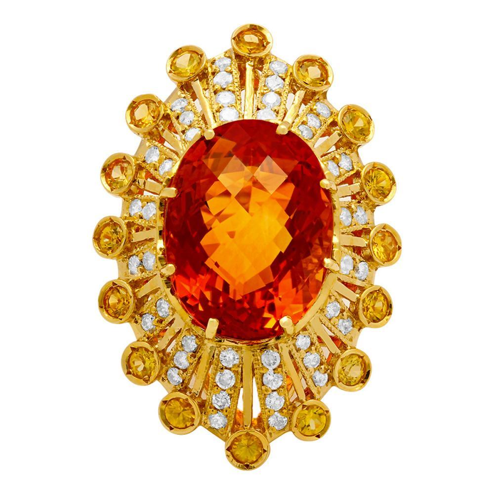 Lot 195: 14k Yellow Gold 18.10ct & 0.80ct Citrine 1.13ct Diamond Ring